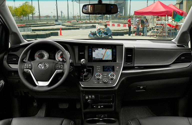 2017 Toyota Sienna interior front steering wheel and dashboard