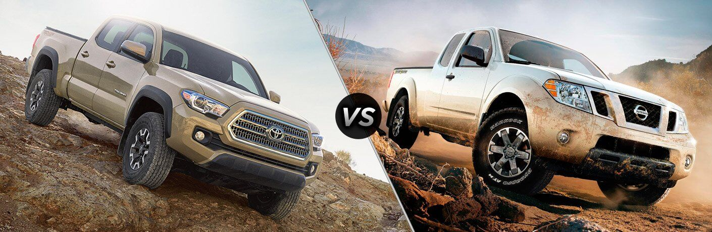 2017 Toyota Tacoma and 2017 Nissan Frontier exteriors on hilly terrain