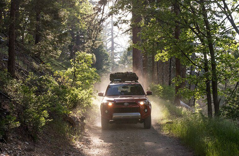red 2017 Toyota 4Runner on wilderness road