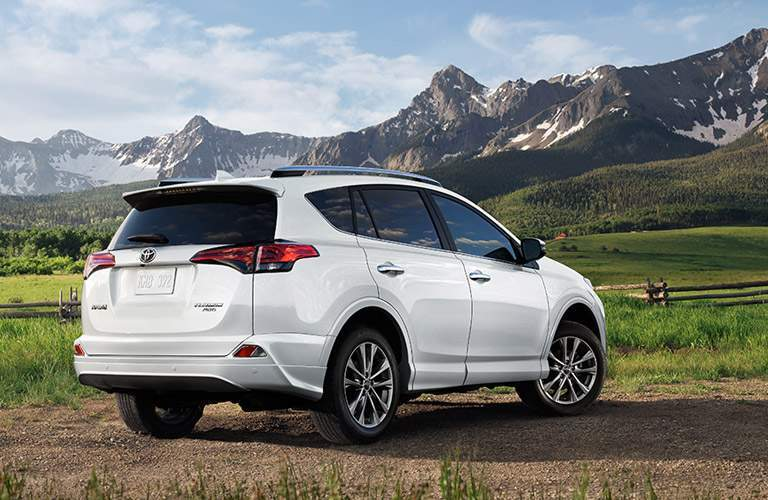 white 2017 Toyota RAV4 looking toward mountains