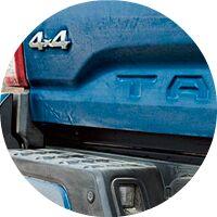 blue 2017 Toyota Tacoma tailgate closeup