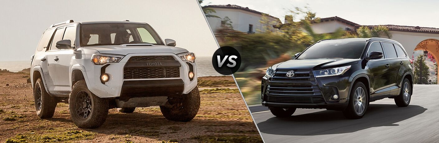 2018 Toyota 4Runner exterior front fascia and passenger side on dirt vs 2018 Toyota Highlander exterior front fascia and drivers side going fast on road