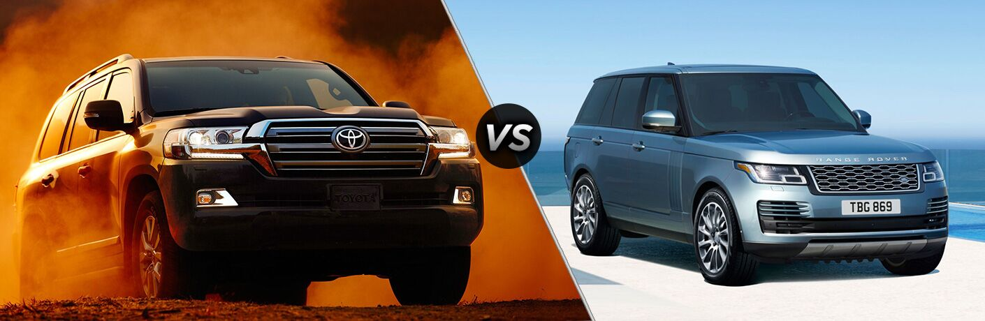 2018 Toyota Land Cruiser exterior front fascia and passenger side vs 2018 Land Rover Range Rover exterior front fascia and passenger side
