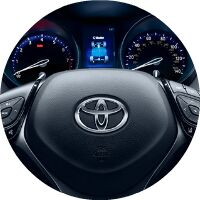 2018 Toyota C-HR steering wheel and instrument cluster closeup