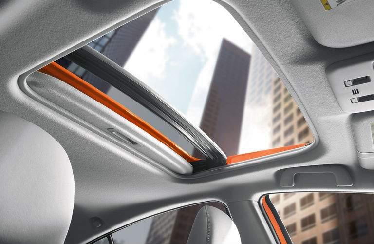 orange Prius c moonroof, interior