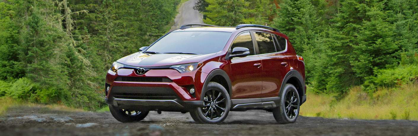 2018 Toyota RAV4 Adventure parked in front of evergreen trees