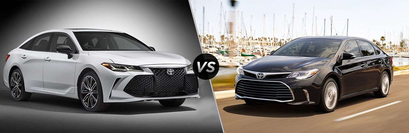 2019 Toyota Avalon exterior front fascia and passenger side vs 2018 Toyota Avalon exterior front fascia and drivers side