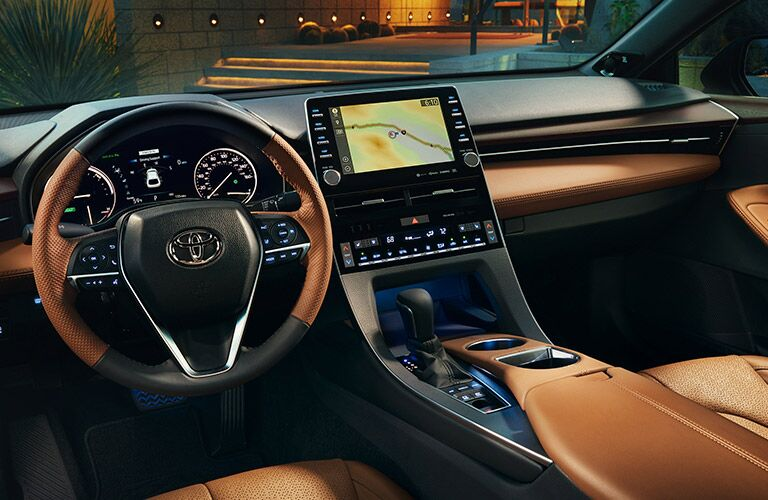 front seat of 2019 avalon with tan leather trim