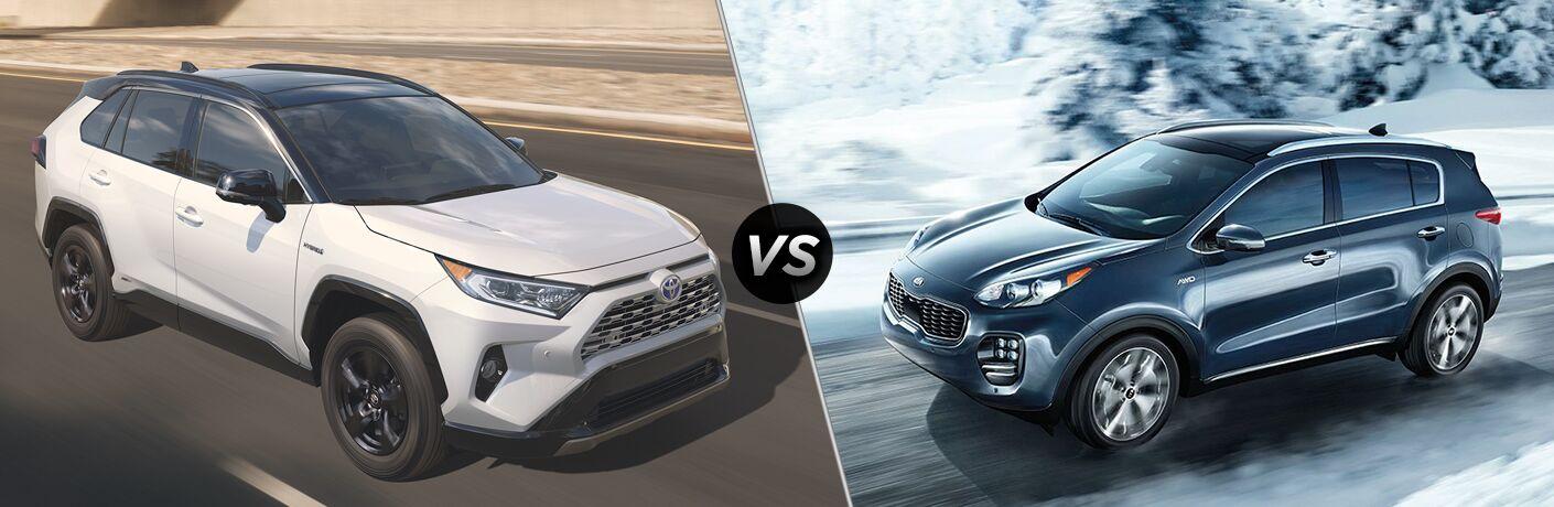 Comparison image of a white 2019 Toyota RAV4 and a blue 2019 Kia Sportage