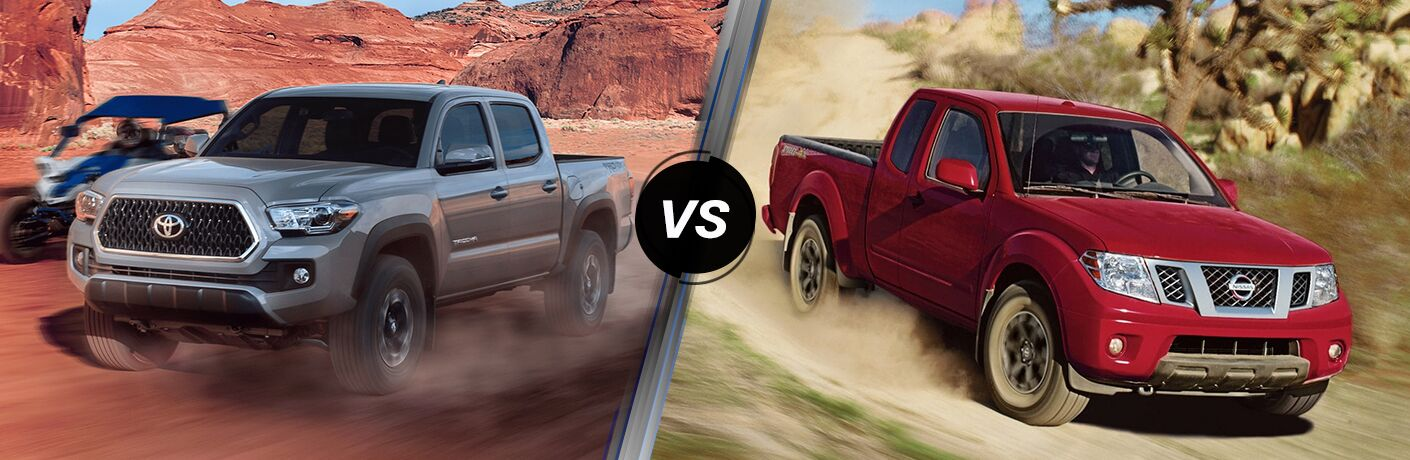 Comparison image of a gray 2019 Toyota Tacoma and a red 2019 Nissan Frontier