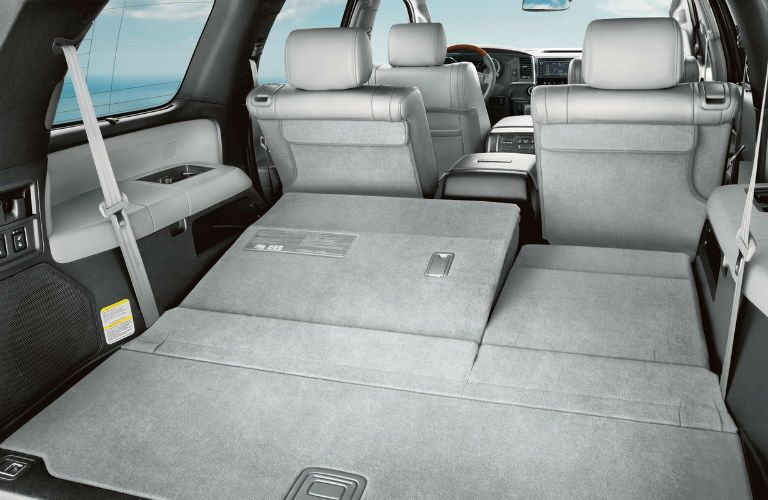 2019 Toyota Sequoia interior back cabin 3rd row seats folded down