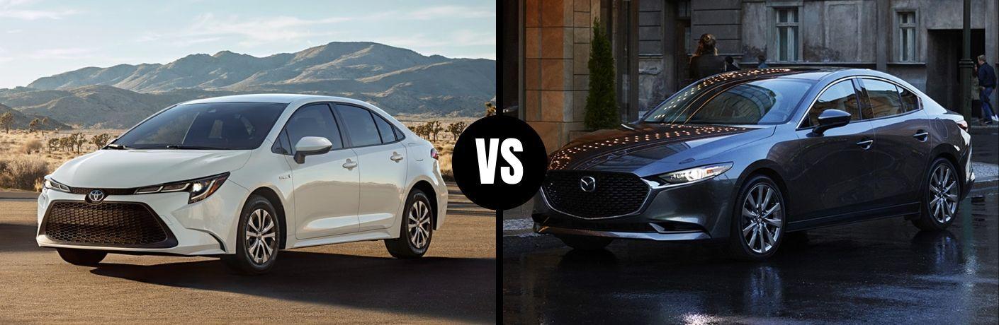 Comparison image of a white 2020 Toyota Corolla and a gray 2019 Mazda3