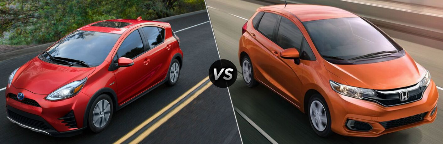 2018 Toyota Prius c and 2018 Honda Fit side by side