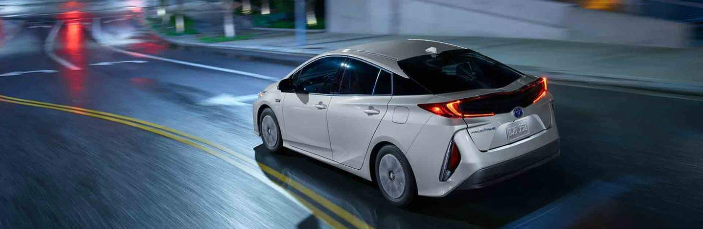 white 2018 Toyota Prius Prime back side view