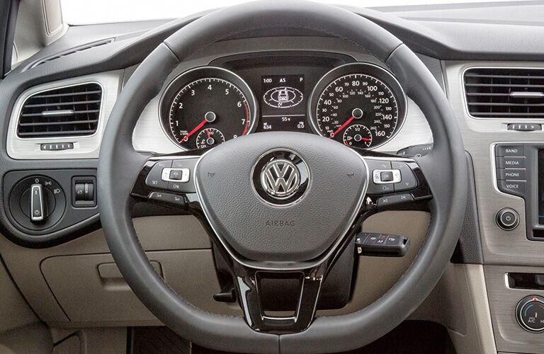 2018 Volkswagen Golf SportWagen interior close up of steering wheel and driver's display