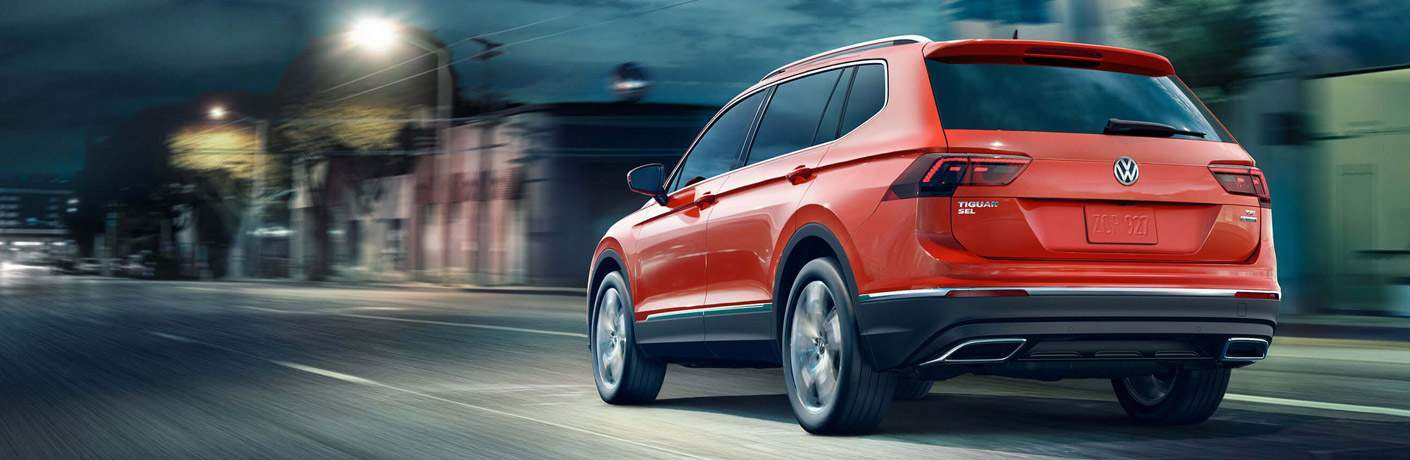 Red 2018 Volkswagen Tiguan rear view