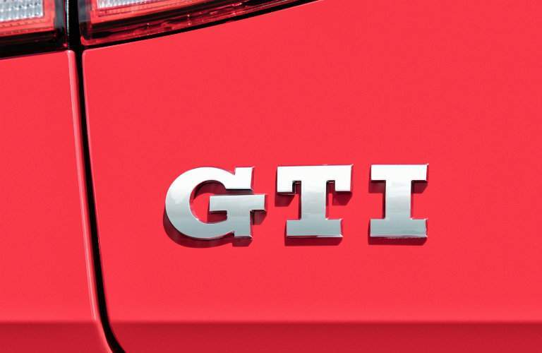 2018 Volkswagen Golf GTI exterior shot of GTI model badge on car frame