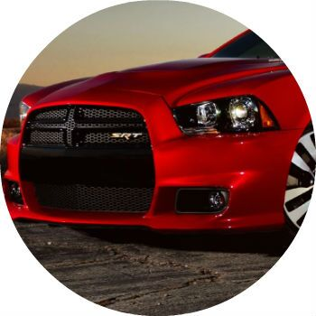 Red Dodge Charger grille