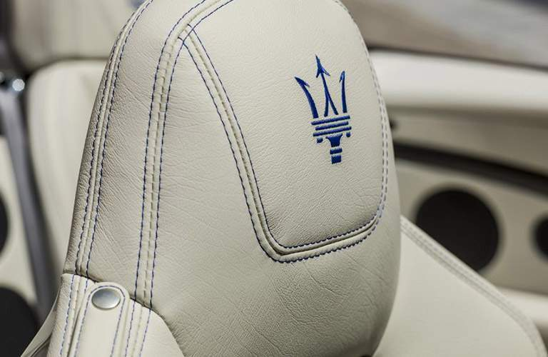 2018 maserati granturismo convertible. fine granturismo close up of maserati logo on headrest 2018 granturismo  convertible for maserati granturismo convertible