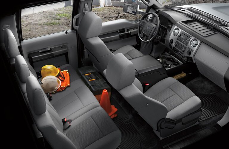 Two rows of seating inside 2016 Ford Super Duty