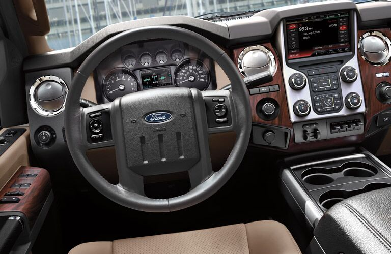 Steering wheel and SYNC interface inside 2016 Ford Super Duty