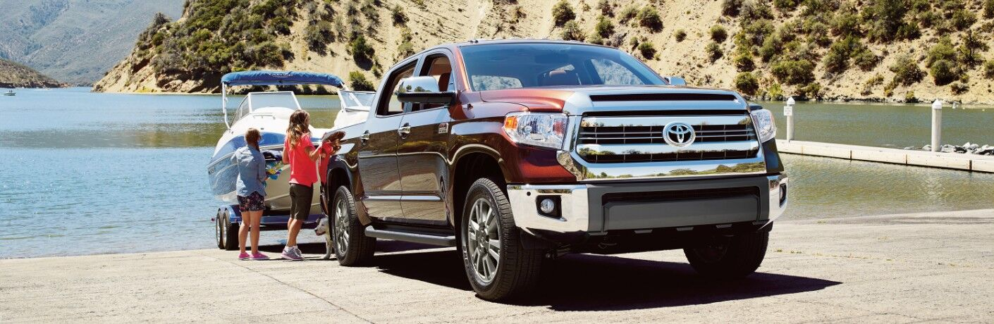 2016 Toyota Tundra with kids by boat