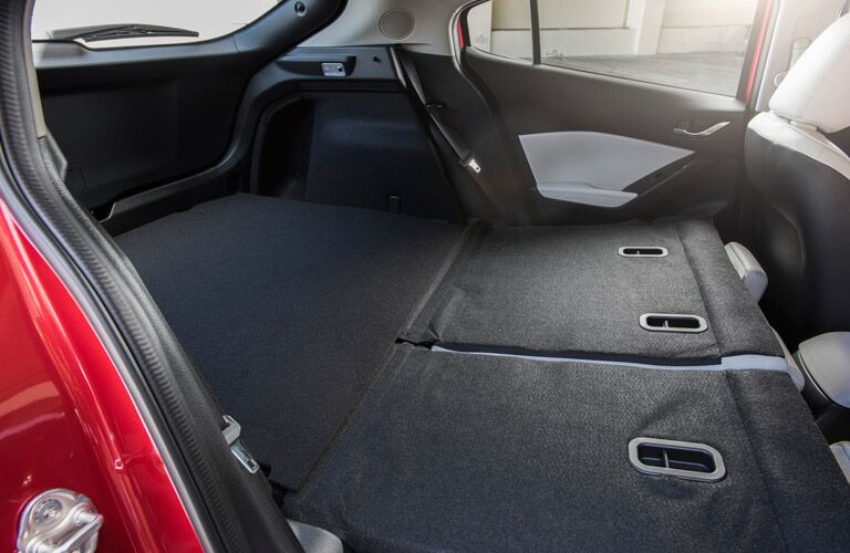 Interior with seats down in 2017 Mazda3