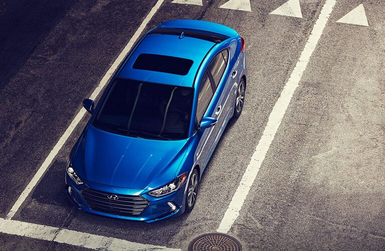 Overhead view of blue 2017 Hyundai Elantra