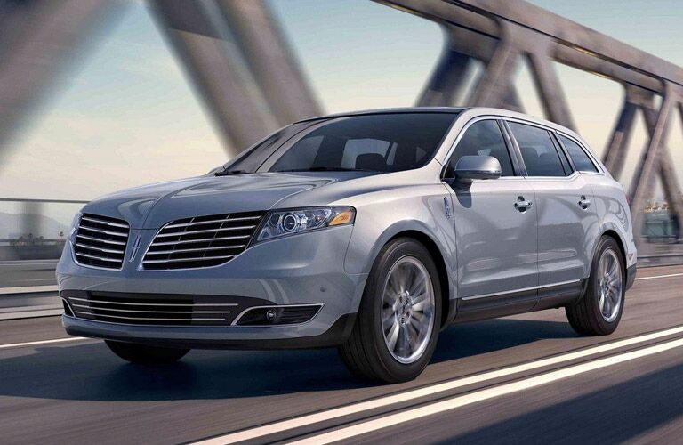 Front view of 2019 Lincoln MKT driving on bridge