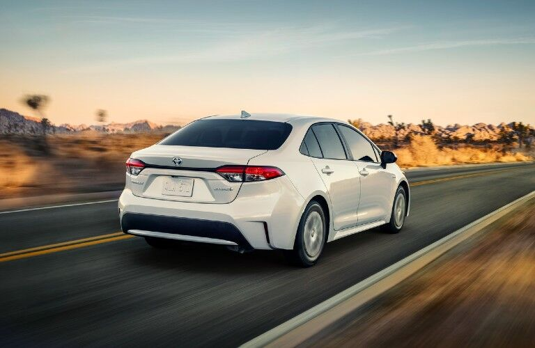 2021 Toyota Corolla Hybrid LE from the exterior rear side