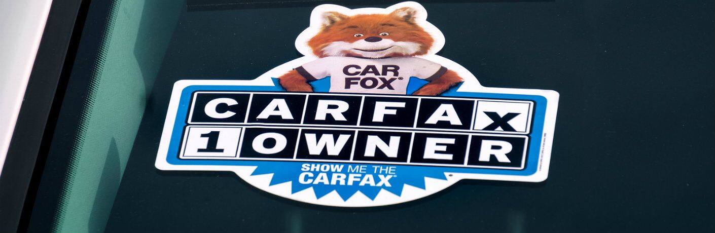 Carfax logo on vehicle windshield