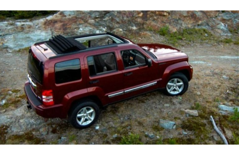 2012 Jeep Liberty overhead on a rocky road