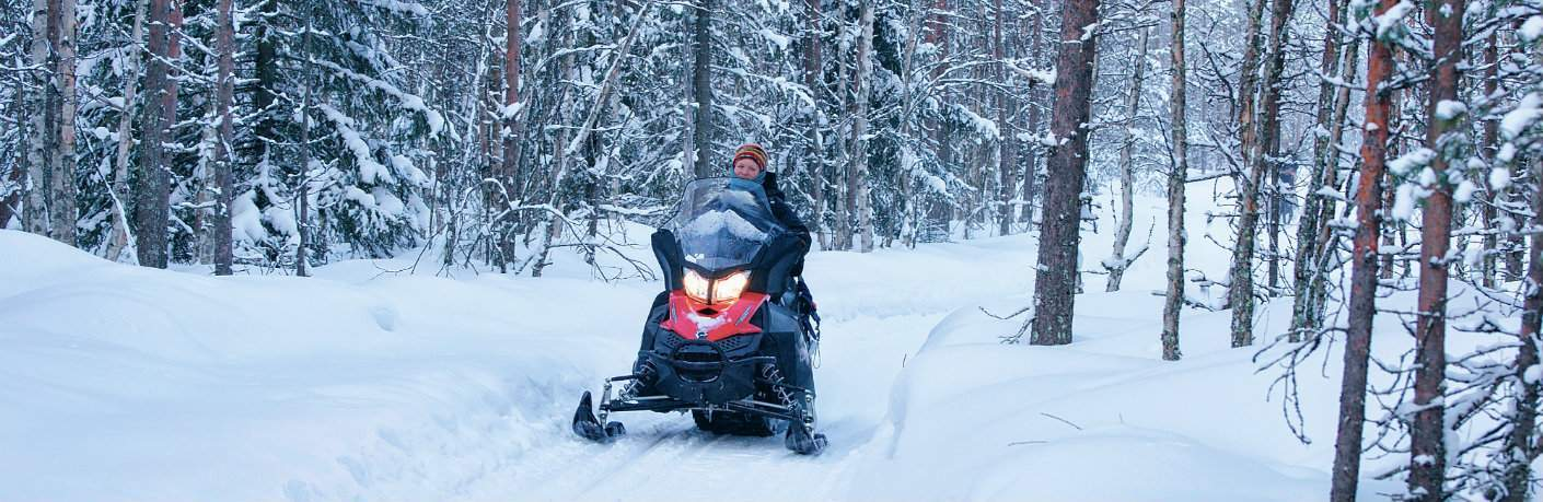 Snowmobiler riding through snowy patch of forest