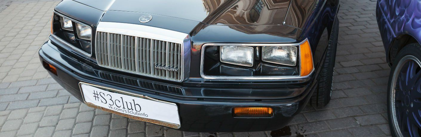 Front view of used Mercury grille and headlights
