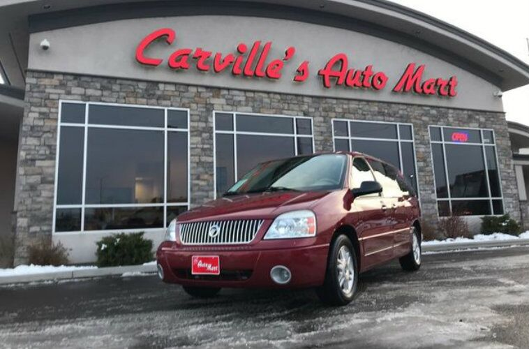 Front shot of red 2004 Mercury Monterey at Carville's Auto Mart