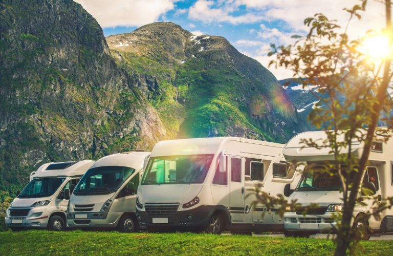 Lineup of different motorhomes