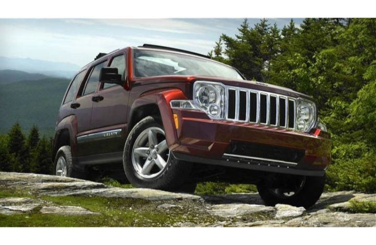 2012 Jeep Liberty climbing a rough hill