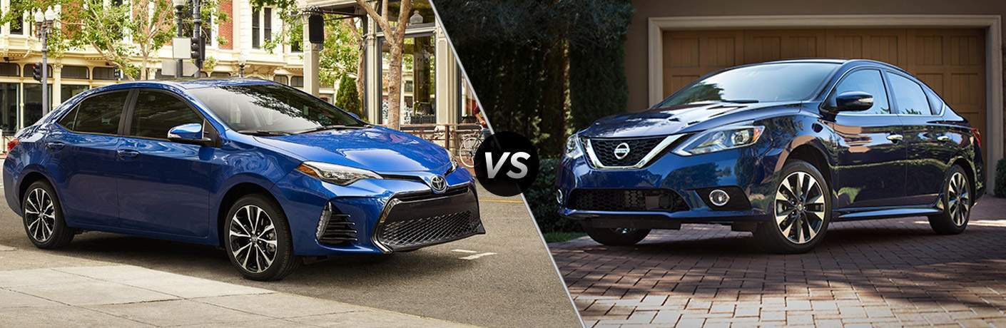 Blue Toyota Corolla and Nissan Sentra models parked face to face in comparison image