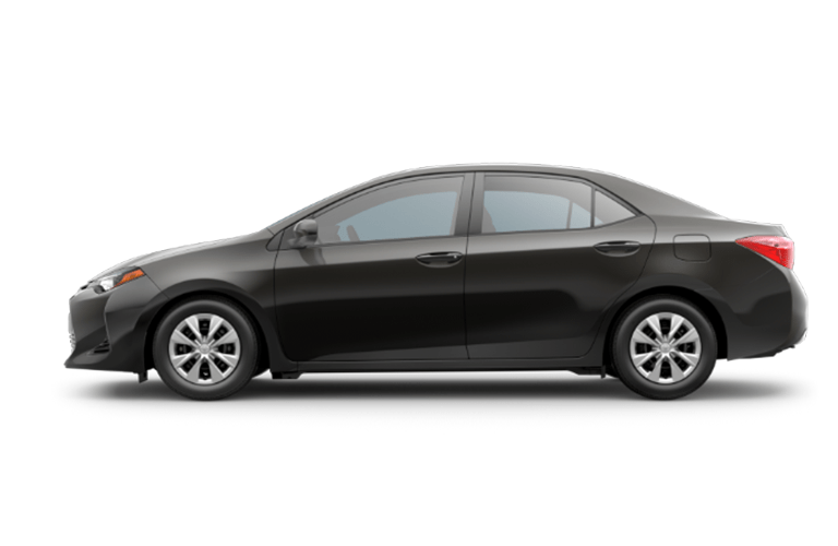 Side shot of black 2018 Toyota Corolla on white background