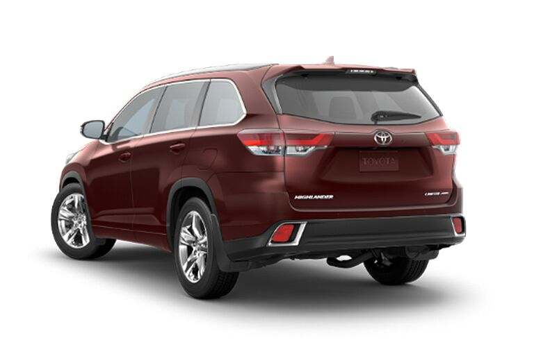 2018 Toyota Highlander Limited exterior back fascia and drivers side on white background