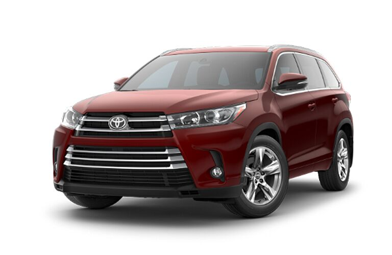 2018 Toyota Highlander exterior front fascia and drivers side on white background