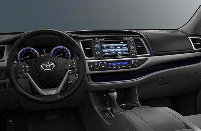 2018 Toyota Highlander interior front cabin steering wheel and dashboard