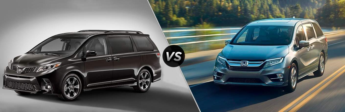 2018 Toyota Sienna and 2018 Honda Odyssey positioned next to each other in comparison image