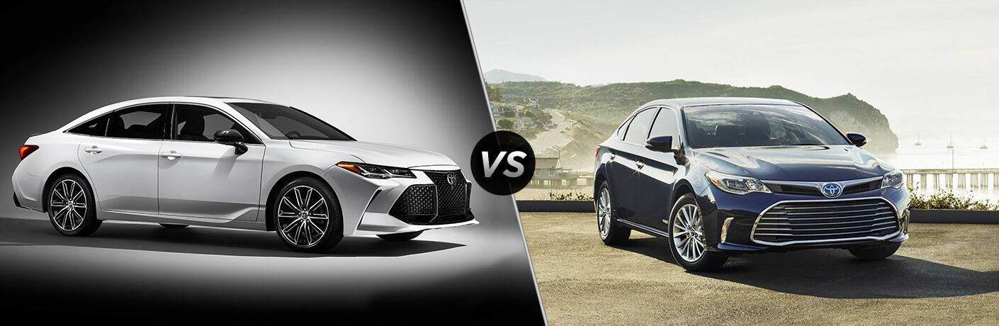 Silver 2019 Toyota Avalon next to blue 2018 Toyota Avalon in comparison image