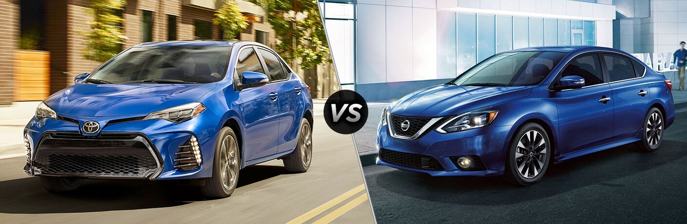 Blue 2019 Toyota Corolla and Nissan Sentra models next to each other in comparison image