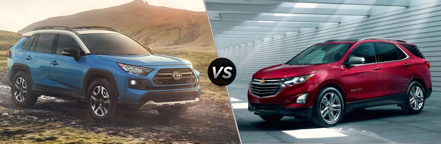 Blue 2019 Toyota RAV4 next to red 2019 Chevy Equinox in comparison