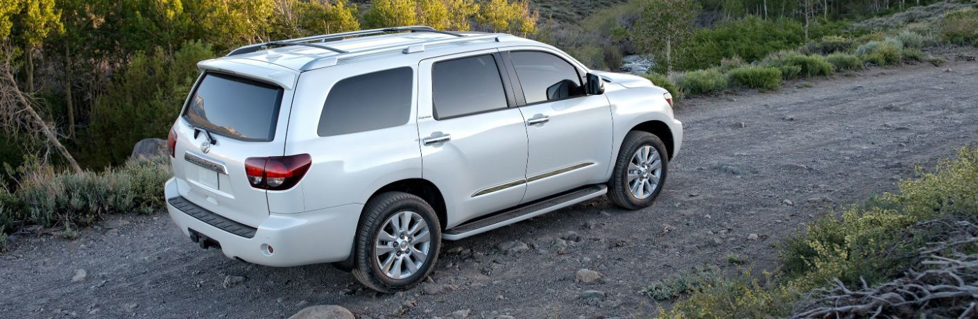 Profile view of white 2019 Toyota Sequoia driving on country trail