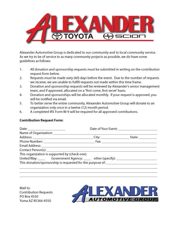 Sponsorship Request Form At Alexander Toyota in Yuma AZ – Sponsorship Request Form