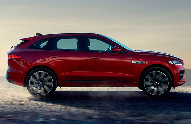 Red 2017 Jaguar F-PACE Side Exterior