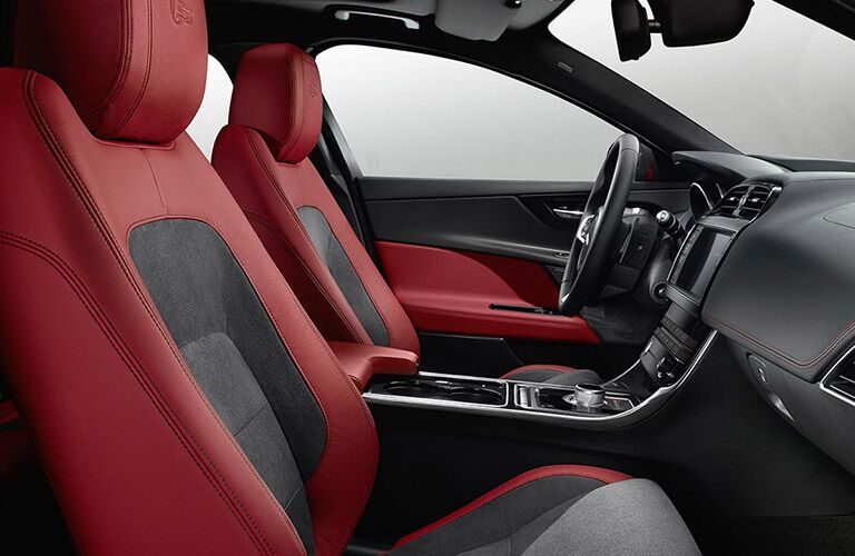 Red and Black 2017 Jaguar XE front Seat Interior